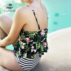 NEW! Cupshe High Waisted Floral & Striped Bikini